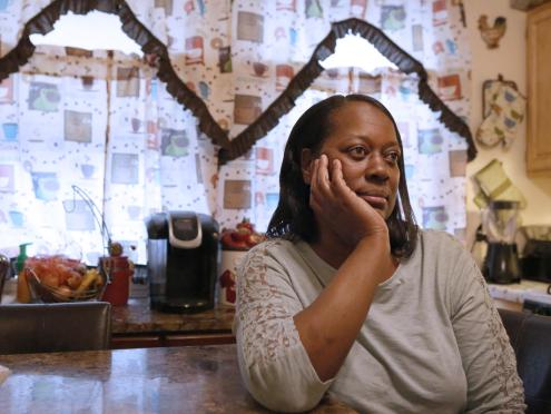 (Boston, MA - 4/26/17) Bonita Cuff, 49, says she struggles to afford nutritious food for her family, Wednesday, April 26, 2017. Staff photo by Angela Rowlings.